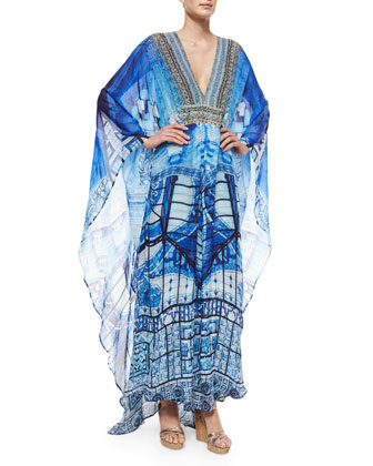 Printed Beaded Chiffon Caftan Dress