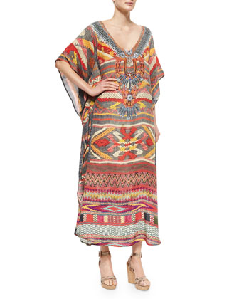 Printed Beaded V-Neck Caftan Coverup