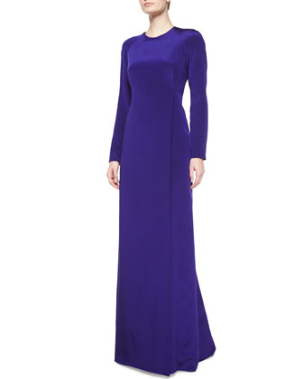 Long-Sleeve Wrap Gown, Ultra Violet