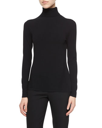 Jelena Ribbed Turtleneck Sweater, Black