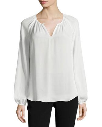 Marnie Long-Sleeve Silk Top, Ivory