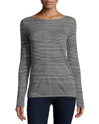 Cotton/Cashmere Long-Sleeve Striped Sweater