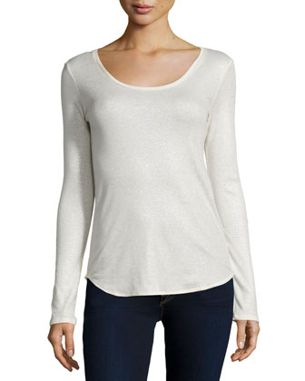 Cotton/Cashmere Long-Sleeve Metallic Top