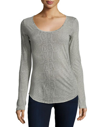 Cotton/Cashmere Python-Print Scoop-Neck Top
