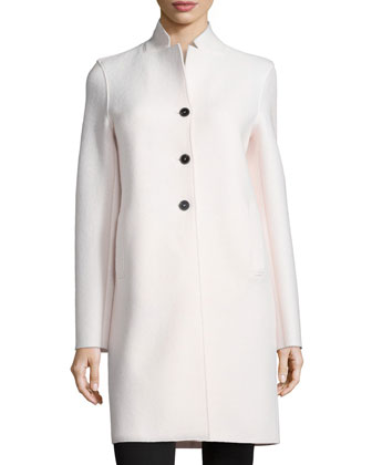Double-Face 3-Button Wool Coat