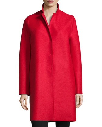 Double-Face Wool Hidden Placket Coat