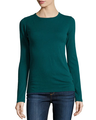 Cotton/Cashmere Long-Sleeve Crewneck Top