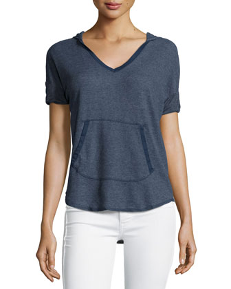 Hooded Short-Sleeve Thermal Top, Navy