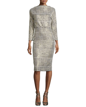 3/4-Sleeve Metallic Houndstooth Blouson Dress