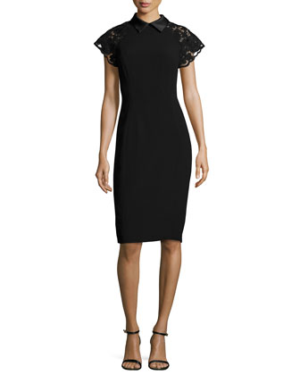 Lace Cap-Sleeve Sheath Dress
