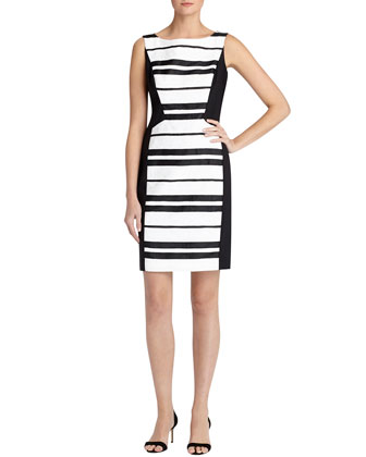 Kimberly Sleeveless Boat-Neck Sheath Dress, Black Multi