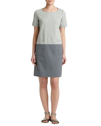 Short-Sleeve Colorblock Shift Dress, Gray Multi