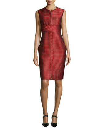 Geometric Sleeveless Dress, Rouge