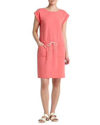 Cap-Sleeve Drawstring Dress, Bellini
