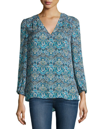 Avonmora Paisley-Print Silk Top
