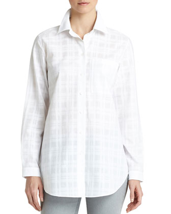 Babette Long-Sleeve Plaid Blouse, White