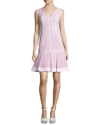 Sleeveless Dropped-Waist Dress, Rose Clair