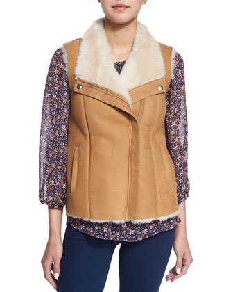 Brinley Lamb Fur-Lined Vest, Azzedine Geo-Print Silk Top & Enchante ...