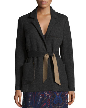 Desi Dean Wool-Blend Jacket, Vandrea Paisley-Printed Blouse & Traluna ...