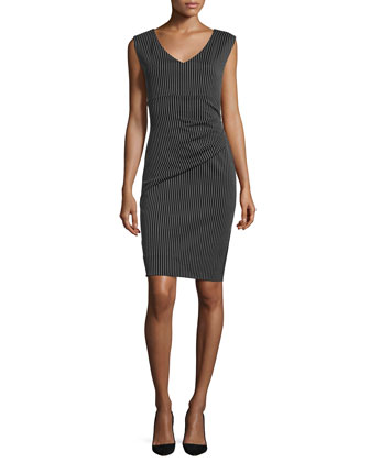 Bevin Striped Sheath Dress, Black/Gray