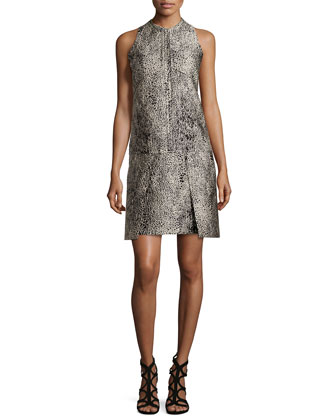 Sleeveless Embossed Dress, Ecru/Noir