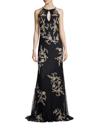 Halter Sleeveless Beaded Floral Gown
