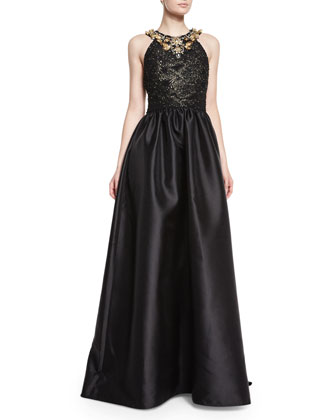 Halter Beaded Ball Gown