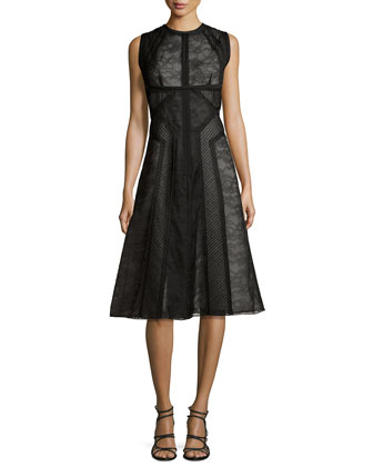 Sleeveless Lace Paneled Dress, Noir/Ecru
