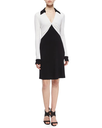 Colorblock Twist-Front Wool Shirtdress, Black/White