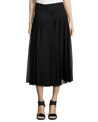Pleated Wrap Midi Skirt, Black