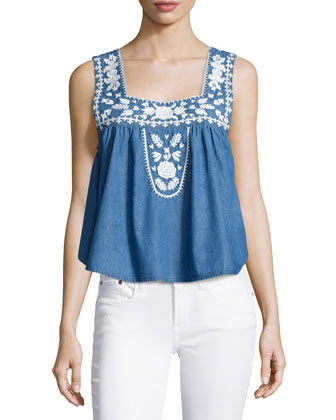 Dream Catcher Embroidered Top, Blue Lagoon