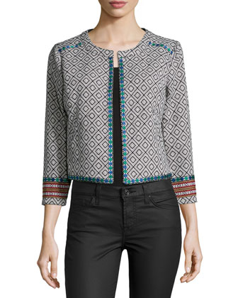 Mantra Geometric-Print Jacket, Black