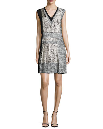 Sleeveless V-Neck Dress W/Lace Insets, Ecru/Noir