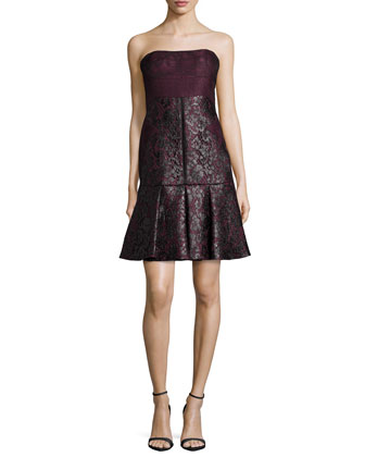 Strapless Lace Dress W/Pleated Skirt, Vin