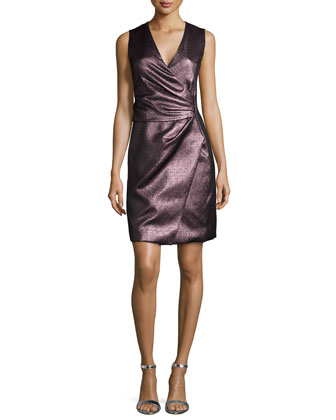 Anenome Sculptural Metallic Dress W/ Wrap Skirt