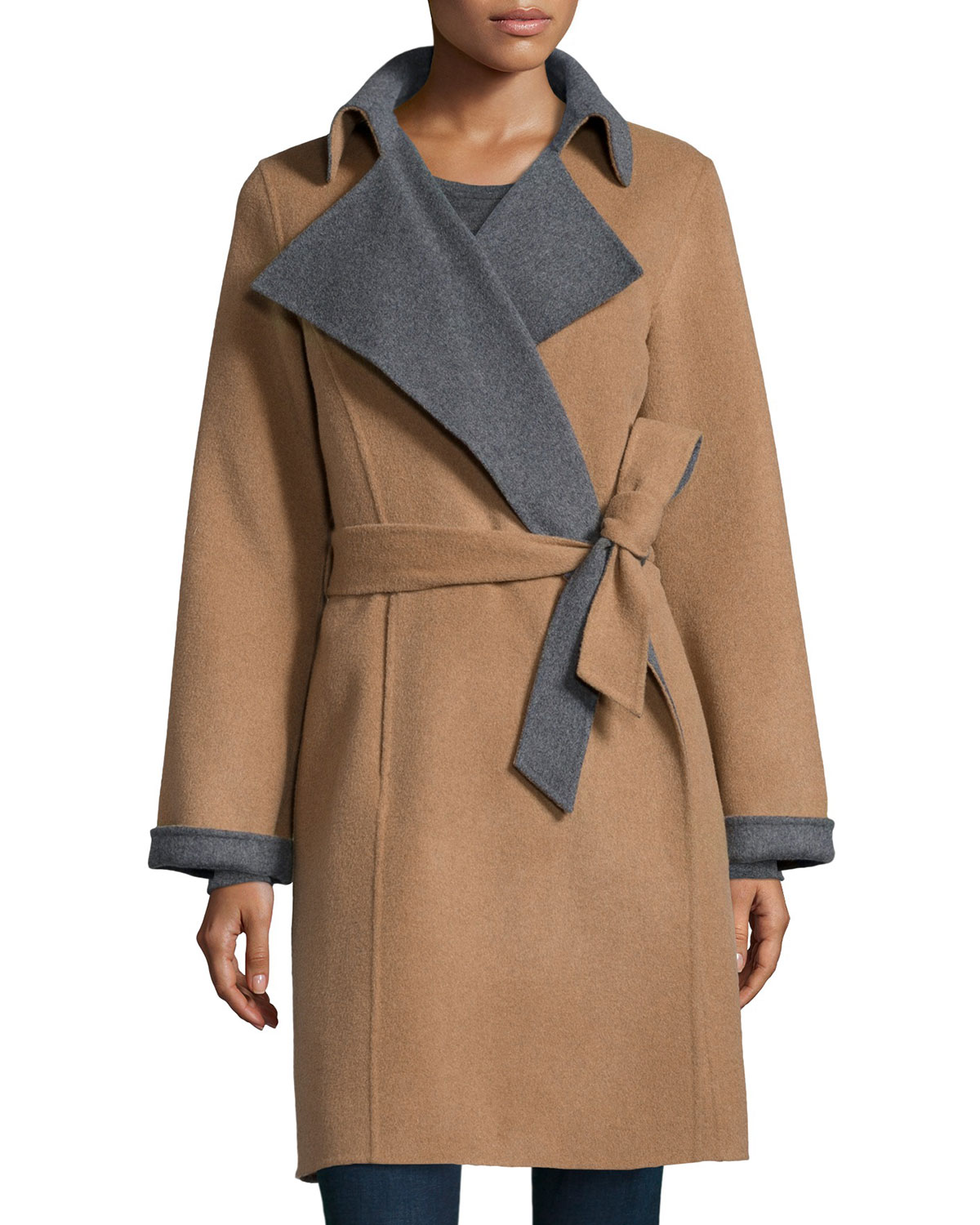 Double-Face Belted Wool-Blend Coat, Size: LARGE/12-14, Camel/Grey - Neiman Marcus