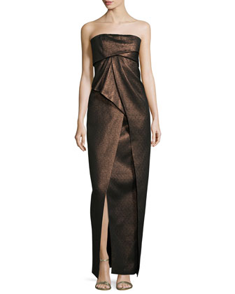 Strapless Pleated Metallic Gown, Bronze