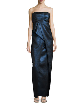 Strapless Pleated Metallic Gown, Ciel Gelee