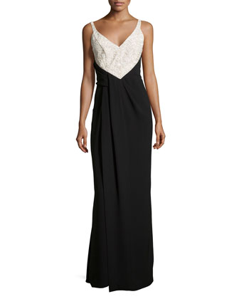 Colorblock Sleeveless Gown, Noir/Ecru