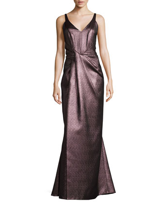Sleeveless Metallic Gown, Anemone