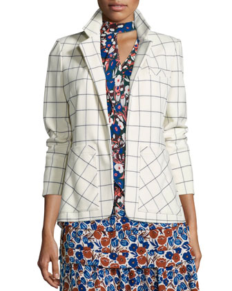Grid-Print Blazer with Pockets, Ivory