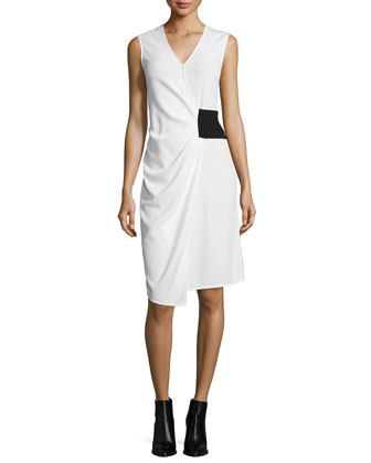 Grid-Print Trench Jacket with Tie-Waist & V-Neck Sleeveless Wrap Dress