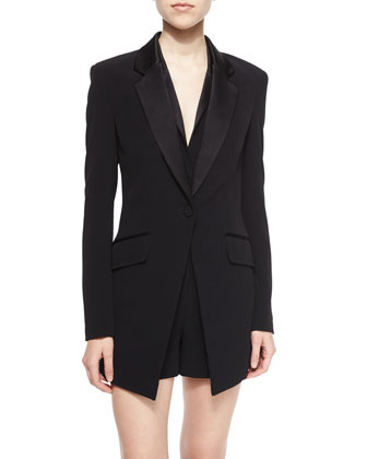 Long-Sleeve Smoking Jacket & Seduction Mesh-Side Romper