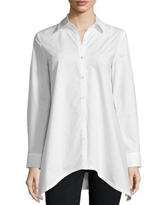 Long-Sleeve Tie-Back Shirt, Soft White