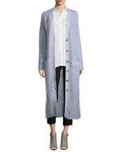 Long Button-Front Cardigan, Long-Sleeve Tie-Back Shirt & Cropped High-Waist ...