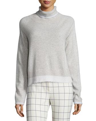 Knit Turtleneck Sweater & Grid-Print Flare Leg Pants