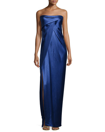 Strapless Pleated Gown, Marine