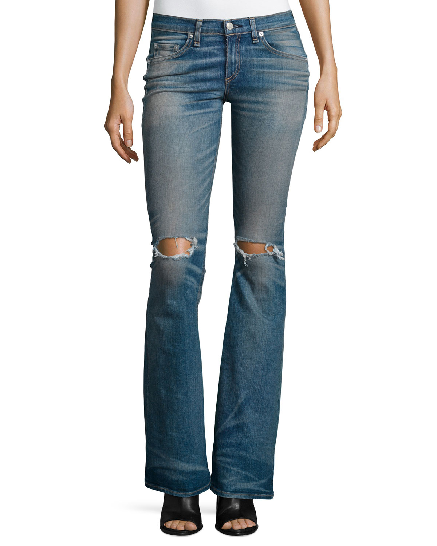 Low-Rise Distressed Bell-Bottom Jeans, Clean Little Five, Size: 27, Blue - rag & bone/JEAN