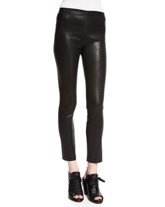 Georgie Cropped Leather Pants, Washed Black