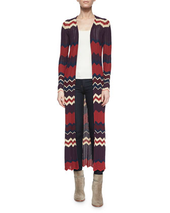 Alexi Chevron-Stripe Long Cardigan, Bordeaux